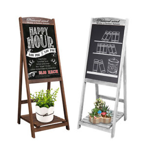 Decorative Vintage White Washed Brown Wood Large Freestanding Chalkboard Message