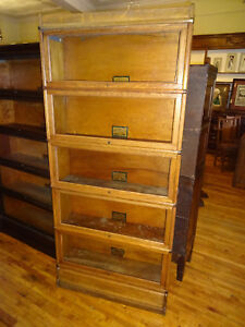 We Ship Oak Globe Wernicke 5 High Stack Barrister Bookcase Arts
