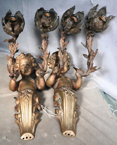 Pair French Antique Bronze Figural Sconce Wall Light Cherubs Putti Gas Electric