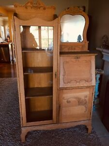 Antique Oak Secretary China Hutch Victorian Carved Ornate Curio Vintage Old Era