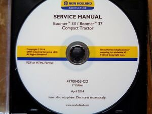 New Holland Boomer 33 37 Tractor Factory Service Manual Cd Oem 2014 4700453 cd