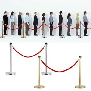 2 Stainless Steel Stanchion Posts W red Velvet Rope Queue Barrier Gold silver