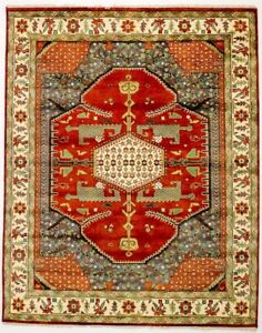 One Of Kind Hand Knotted Vintage Chobi Indian Rug Oriental Area Carpet 8x10