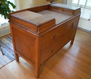 Antique Vintage Wooden Art Deco Dressing Table Vanity Chest Of Drawers Cabinet
