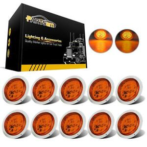 4inch Universal Amber Round 40led Stop turn tail Light W Chromed Ring 10pcs