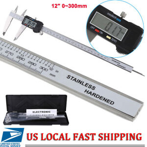 Digital Lcd Gauge Stainless Steel Vernier 300mm 12inch Caliper Micrometer Us