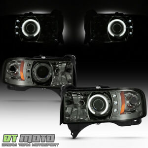 Smoked 1994 2001 Dodge Ram Ccfl Halo Projector Led Headlights Left Right 94 01