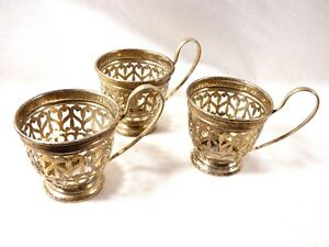 Lot Of 3 Vtg Gorham Sterling Silver England Pierced Demitasse Cup Holders