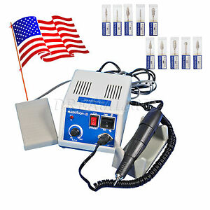 Dental Lab Marathon Micromotor Polisher 35krpm Polish Handpiece 10 Drill Burs I3