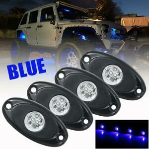 8x Blue Led Rock Light W 4pods Lights For Jeep Off Road Truck Car Atv Under Body