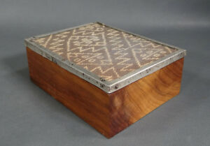 Antique 925 Sterling Silver Tapestry Glass Walnut Wood Wooden Cigarette Box Case