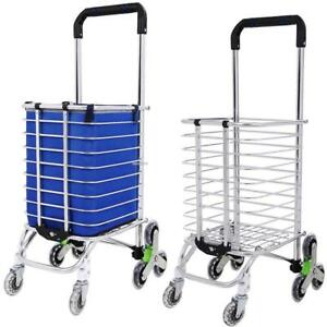 8 Wheel Upgraded Shopping Cart Folding Stair Climbing Grocery Laundry Cart Bag