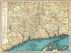 1937 Vintage Connecticut Map Antique Map Of Connecticut State Map 5910