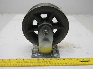 6 x2 V groove Rigid Cast Iron Spoked Wheel Caster 4 1 2 X 4 Plate