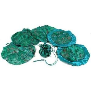 Green Brocade Chinese Drawstring Jewelry Gift Bags Pouches 10 Kit 144 Pcs