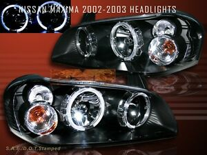 Fit 2002 2003 Maxima Twin Halo Headlights Jdm Black