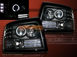 92 96 Ford Bronco F150 f250 f350 Black One Halo Led Projector Headlights L e d