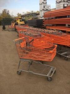 Shopping Carts Used Large Orange Gray Metal Wholesale Warehouse Store Fixtures