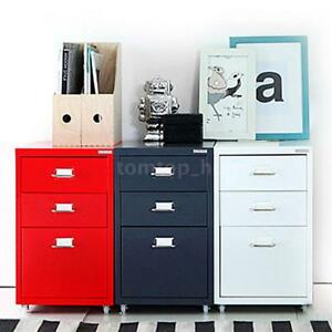 3 Drawer Metal File Cabinet Filing Cabinet Home Office Furniture W Casters H6e1