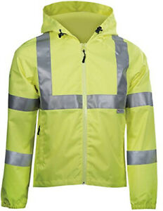 Dblade Hi Viz Mens Rain Jacket Taped Seams High Visibility Protective Work Wear