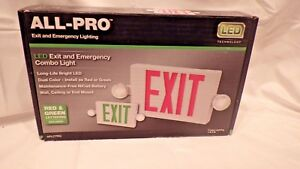 All pro Led Exit And Emergency Lighting Wall Ceiling Or End Mount Battery Op
