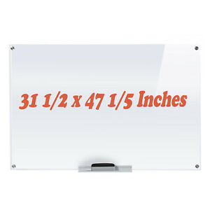 Cyber Monday Deals Dry erase Board glass Whiteboard With Eraser maker Tray White