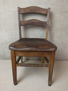 Vintage Old Child Youth Solid Oak School Church Chair Nursery
