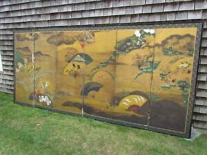 Antique Japanese Meiji Period 1868 1912 7 Panel Gilt Screen With Landscape