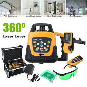 Self leveling 360 Rotary Green Beam Laser Level 500m Range Remote Control Case