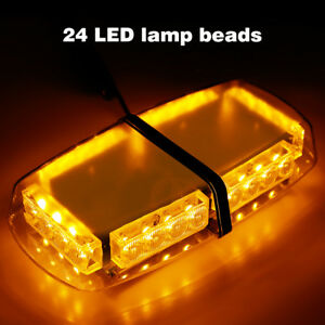 24led Strobe Light Bar Roof Top Emergency Hazard Flash Warning Lamp Yellow Amber