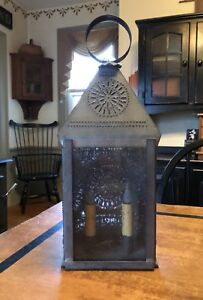 Antique Reproduction Wall Table Electric Punched Tin Lantern