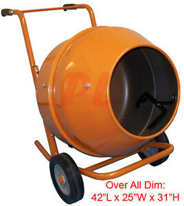 5 Cubic Ft Wheel Barrow Portable Cement Concrete Mixer free Shipping