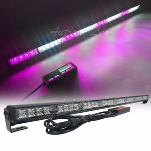 35 Inch Led Purple white Flashing Traffic Adviser Directional Strobe Light Bars