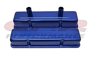 Aluminum Stamped Tall Valve Covers Chevy Circle Track 283 400 Anodized Blue
