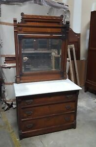 Antique American Victorian Eastlake Walnut Marble Top Dresser With Mirror