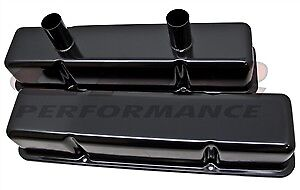 1958 86 Chevy Small Block Circle Track Racing Steel Valve Covers Black