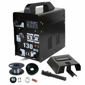 Mig 130 Welder Flux Core Wire Automatic Feed Welding Machine Black 110 V 60 Hz
