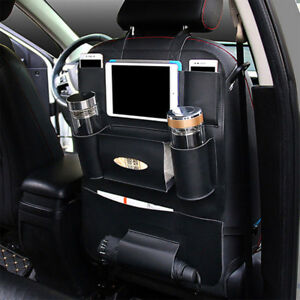 Black Leather Car Seat Back Bag Organizer Storage Ipad Phone Holder Multi Pocket