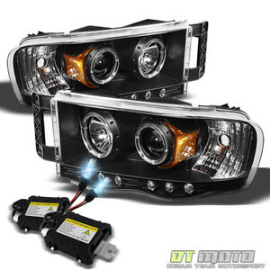 8000k Slim Xenon Hid Black 02 05 Dodge Ram Dual Halo Projector Led Headlights
