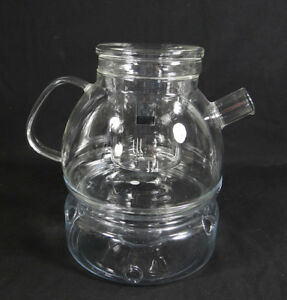 Mcm Bauhaus Wilhelm Wagenfeld German Jena Hand Made Glass Tea Pot Warmer Infuser