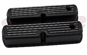 Aluminum 1962 85 Ford 289 302 351w 5 0 Tall Valve Covers Polished Finned Black