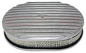 Chevy Ford Mopar 12 Oval Polished Aluminum Air Cleaner Full Finned