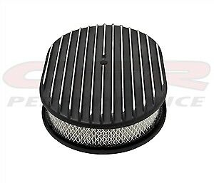 Chevy Ford Mopar Aluminum 12 Oval Air Cleaner Paper Filter Polished Finned