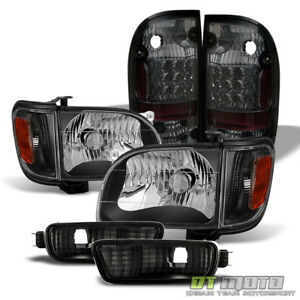 For 2001 2004 Tacoma Black Replacement Headlights smoked Led Tail Lights Lamps
