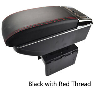 Universal Center Console Storage Box Armrest Arm Rest For Car Ford Bmw Jeep Red