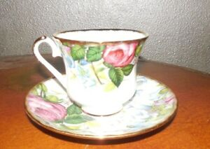Heirloom Fine Bone China Floral Tea Cup Saucer Set Mint Vintage
