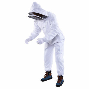 Professional White Cotton Full Body Beekeeping Bee Keeper Suit Hat Hood Veil