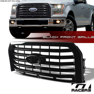 For 2015 2017 Ford F150 Glossy Black Oe Horizontal Front Bumper Grill Grille Abs