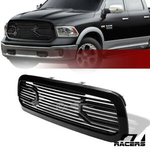For 2013 2018 Dodge Ram 1500 Glossy Blk Big Horn Front Hood Bumper Grill Grille