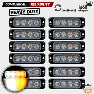 12 Pcs Synchronous Emergency 4 led Strobe Lights Amber White Surface Mount Truck